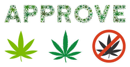 Approve caption collage of weed leaves in different sizes and green variations. Vector flat marijuana symbols are organized into Approve caption illustration. Herbal vector illustration.