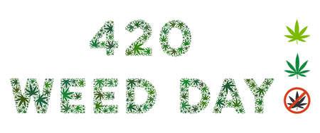 420 Weed Day标题拼贴了不同大小和绿色色调的杂草叶子。矢量平面大麻叶子组合成420 Weed Day标题拼贴。草药矢量插图。