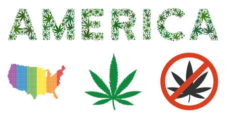 America text collage of marijuana leaves in various sizes and green hues. Vector flat marijuana leaves are organized into America text composition. Addiction vector design concept.
