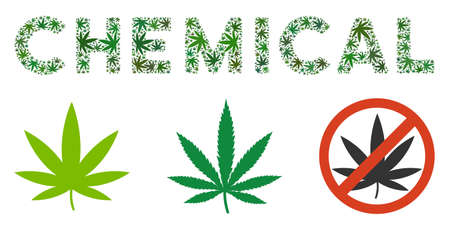 Chemical label mosaic of marijuana leaves in various sizes and green variations. Vector flat grass objects are organized into Chemical label mosaic. Drugs vector design concept.