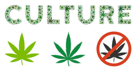 Culture label mosaic of weed leaves in different sizes and green tones. Vector flat weed symbols are grouped into Culture label mosaic. Herbal vector illustration.