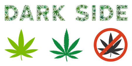 Dark Side caption collage of marijuana leaves in variable sizes and green tints. Vector flat grass leaves are united into Dark Side label collage. Narcotic vector illustration.