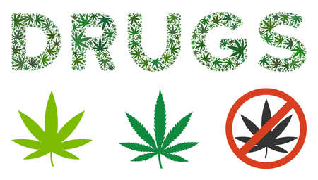 Drugs text mosaic of weed leaves in various sizes and green shades. Vector flat weed leaves are composed into Drugs text collage. Narcotic vector design concept. Ilustrace