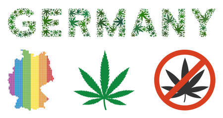 Germany label collage of marijuana leaves in different sizes and green tones. Vector flat marijuana leaves are organized into Germany text composition. Herbal vector design concept.