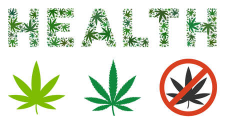 Health label mosaic of weed leaves in variable sizes and green variations. Vector flat grass leaves are combined into Health caption illustration. Addiction vector illustration.