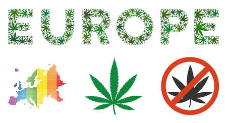 Europe caption composition of weed leaves in various sizes and green tints. Vector flat weed leaves are united into Europe caption illustration. Addiction vector illustration.