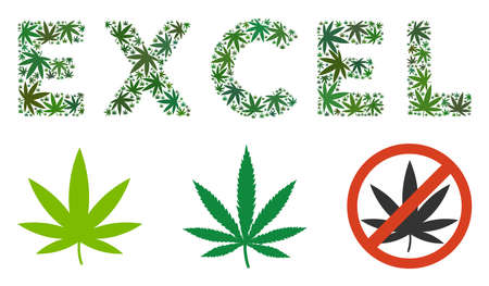 Excel text collage of hemp leaves in various sizes and green hues. Vector flat cannabis leaves are united into Excel text collage. Drugs vector illustration.