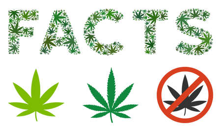 Facts label mosaic of cannabis leaves in variable sizes and green shades. Vector flat cannabis icons are grouped into Facts caption mosaic. Herbal vector illustration.