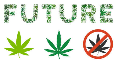 Future text composition of marijuana leaves in variable sizes and green shades. Vector flat marijuana elements are combined into Future text illustration. Addiction vector illustration. 일러스트