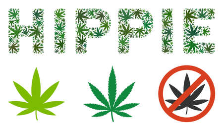 Hippie caption collage of cannabis leaves in variable sizes and green shades. Vector flat cannabis leaves are composed into Hippie label collage. Herbal vector design concept.
