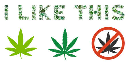 I Like This caption mosaic of marijuana leaves in different sizes and green shades. Vector flat hemp leaves are organized into I Like This caption collage. Drugs vector illustration. Stock Illustratie