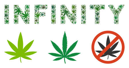 Collage de texte à l'infini de feuilles de marijuana de différentes tailles et nuances de vert. Les feuilles de marijuana plates vectorielles sont organisées en illustration de la légende Infinity. Concept de conception de vecteur de dépendance.