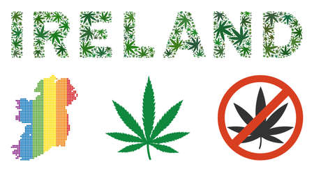 Ireland label composition of hemp leaves in variable sizes and green tones. Vector flat marijuana leaves are united into Ireland text composition. Narcotic vector illustration. Stock Vector - 112364841