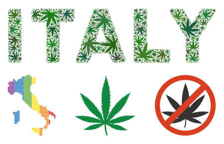 Italy text composition of hemp leaves in different sizes and green hues. Vector flat grass symbols are grouped into Italy text illustration. Herbal vector illustration.