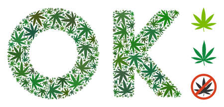 OK text mosaic of weed leaves in different sizes and green variations. Vector flat weed icons are grouped into OK text illustration. Narcotic vector illustration.
