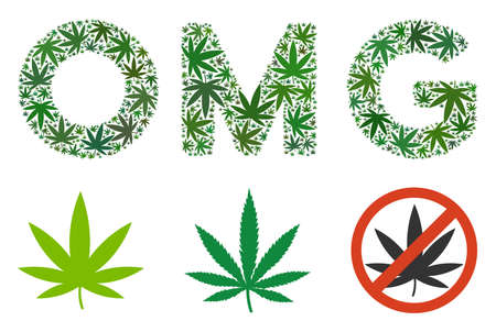Omg caption composition of weed leaves in various sizes and green tinges. Vector flat weed elements are composed into Omg caption composition. Narcotic vector design concept.