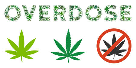 Overdose caption composition of cannabis leaves in various sizes and green shades. Vector flat grass objects are organized into Overdose caption composition. Herbal vector illustration.