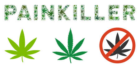 Painkiller text mosaic of marijuana leaves in different sizes and green variations. Vector flat marijuana leaves are combined into Painkiller label illustration. Drugs vector illustration.