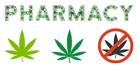 Pharmacy text composition of weed leaves in variable sizes and green tints. Vector flat weed objects are composed into Pharmacy text composition. Drugs vector illustration.