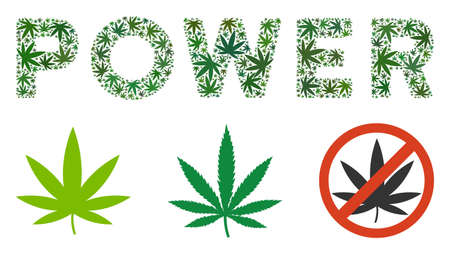 Power text composition of marijuana leaves in different sizes and green tones. Vector flat marijuana leaves are organized into Power caption composition. Addiction vector design concept.