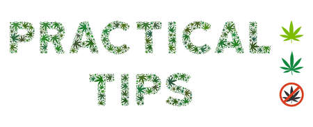 Practical Tips text collage of weed leaves in variable sizes and green shades. Vector flat weed leaves are united into Practical Tips text illustration. Herbal vector design concept.