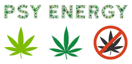 Psy Energy caption mosaic of marijuana leaves in various sizes and green tinges. Vector flat cannabis leaves are organized into Psy Energy caption illustration. Drugs vector illustration.