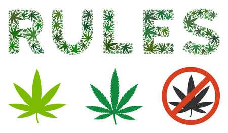 Collage de textes de règles de feuilles de chanvre de tailles variables et de tons verts. Les feuilles de cannabis plates vectorielles sont organisées en illustration de texte de règles. Concept de design vectoriel de médicaments.