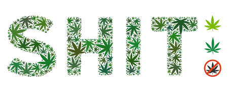 Shit caption composition of cannabis leaves in variable sizes and green shades. Vector flat ganja elements are united into Shit caption illustration. Addiction vector illustration. 向量圖像
