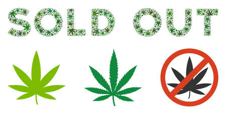 Sold Out text composition of marijuana leaves in different sizes and green tinges. Vector flat ganja leaves are combined into Sold Out text illustration. Drugs vector illustration.