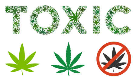 Toxic caption mosaic of hemp leaves in different sizes and green variations. Vector flat hemp objects are united into Toxic caption illustration. Narcotic vector design concept. Ilustração