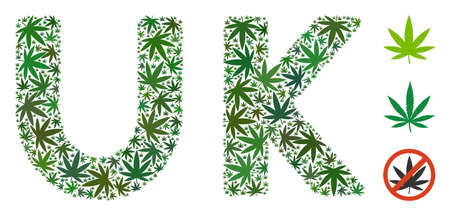 Uk label mosaic of marijuana leaves in variable sizes and green hues. Vector flat weed leaves are composed into Uk label composition. Addiction vector design concept.