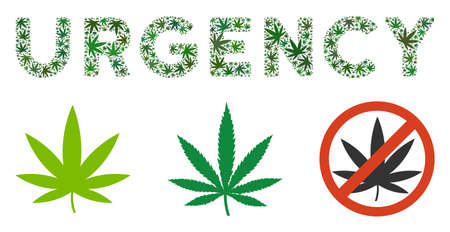 Urgency text collage of cannabis leaves in various sizes and green tones. Vector flat cannabis elements are united into Urgency caption collage. Drugs vector design concept.