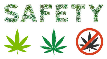 Safety label composition of hemp leaves in various sizes and green variations. Vector flat hemp leaves are united into Safety label mosaic. Addiction vector design concept.