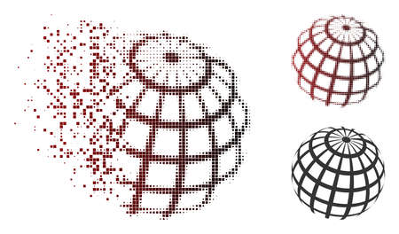 Vector abstract sphere grid icon in sparkle, pixelated halftone and undamaged solid variants. Disappearing effect involves rectangular particles and horizontal gradient from red to black.