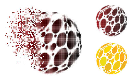 Vector spot abstract sphere icon in sparkle, pixelated halftone and undamaged whole versions. Disintegration effect involves rectangle dots and horizontal gradient from red to black. Ilustrace