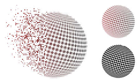 Vector abstract dotted sphere icon in dissolved, pixelated halftone and undamaged whole versions. Disintegration effect uses rectangular particles and horizontal gradient from red to black. Illustration