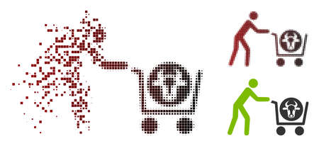 Vector beef purchase icon in dispersed, pixelated halftone and undamaged entire versions. Disintegration effect uses rectangular dots and horizontal gradient from red to black.  イラスト・ベクター素材