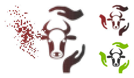 Vector cow care hands icon in dispersed, dotted halftone and undamaged whole variants. Disappearing effect uses rectangle particles and horizontal gradient from red to black.