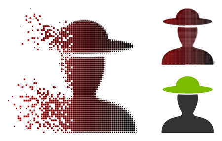 Vector farmer person icon in sparkle, pixelated halftone and undamaged whole versions. Disappearing effect involves square particles and horizontal gradient from red to black.