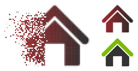 Vector house icon in dispersed, pixelated halftone and undamaged whole variants. Disappearing effect involves rectangular sparks and horizontal gradient from red to black.