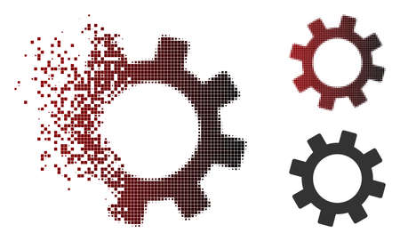 Vector gear icon in fractured, dotted halftone and undamaged whole variants. Disintegration effect involves rectangle scintillas and horizontal gradient from red to black.