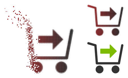 Vector purchase cart icon in fractured, pixelated halftone and undamaged solid versions. Disappearing effect involves rectangular sparks and horizontal gradient from red to black.
