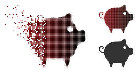 Vector piggy icon in fractured, dotted halftone and undamaged solid versions. Disappearing effect uses rectangle scintillas and horizontal gradient from red to black.