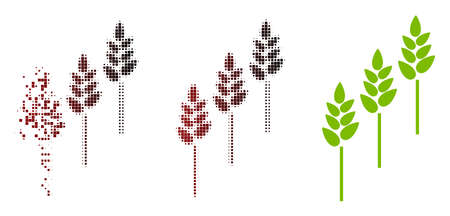Vector wheat plants icon in dispersed, pixelated halftone and undamaged solid variants. Disappearing effect uses rectangle scintillas and horizontal gradient from red to black.