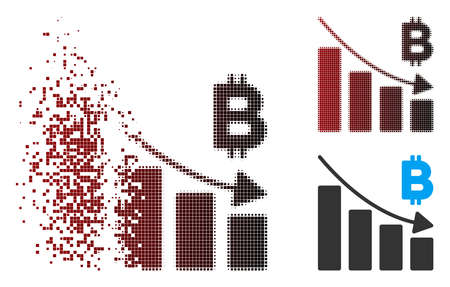 Vector Bitcoin recession bar chart icon in sparkle, pixelated halftone and undamaged whole variants. Disintegration effect involves rectangle dots and horizontal gradient from red to black.