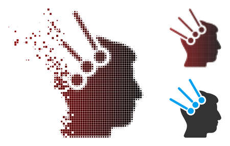 Vector neural interface connectors icon in dissolved, dotted halftone and undamaged solid versions. Disappearing effect uses rectangular particles and horizontal gradient from red to black. Illustration