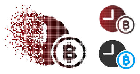 Vector Bitcoin credit clock icon in sparkle, dotted halftone and undamaged whole versions. Disappearing effect involves rectangle particles and horizontal gradient from red to black.