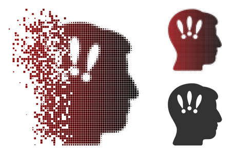 Vector head problems icon in fractured, dotted halftone and undamaged solid versions. Disappearing effect uses rectangle scintillas and horizontal gradient from red to black.