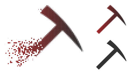 Vector mining hammer icon in dispersed, pixelated halftone and undamaged whole variants. Disappearing effect involves rectangular dots and horizontal gradient from red to black.