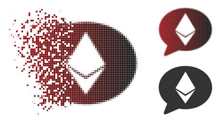 Vector Ethereum message balloon icon in dispersed, pixelated halftone and undamaged entire versions. Disappearing effect involves square dots and horizontal gradient from red to black.